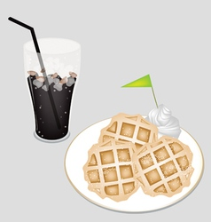 Sweet Black Iced Coffee with Tradition Waffle vector image