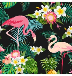 Tropical Flowers and Birds Background Vintage vector image