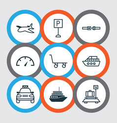 Vehicle icons set with roadsign speed checker vector