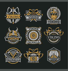 Viking vintage isolated label set vector