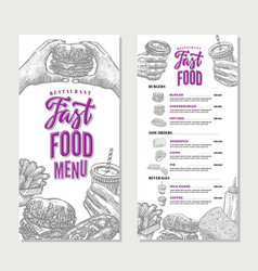 Vintage fast food restaurant menu template vector
