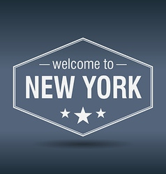 Welcome to New York hexagonal white vintage label vector