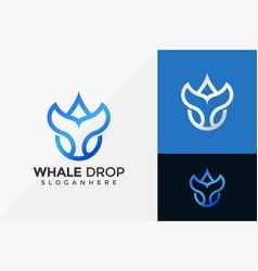 Whale drop logo design modern logo designs vector