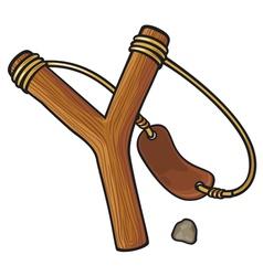 Wooden slingshot vector
