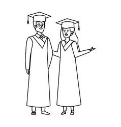Young couple students graduated characters vector