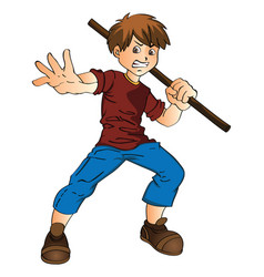 young man with a stick vector image