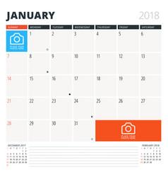 calendar planner for january 2018 design template vector image