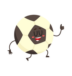 funny football soccer ball character with smiling vector image
