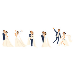 happy wedding couple set cartoon bride and groom vector image