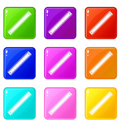 ruler icons 9 set vector image vector image