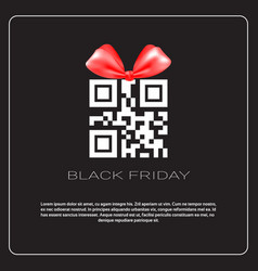 black friday sale poster with qr code with ribbon vector image vector image