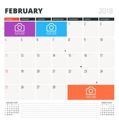 calendar planner for february 2018 design vector image
