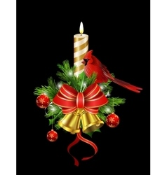 Christmas decoration with street light vector