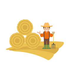 farmer with pitchfork and haystack vector image vector image