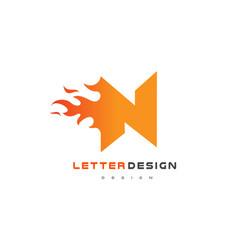 n letter flame logo design fire logo lettering vector image vector image