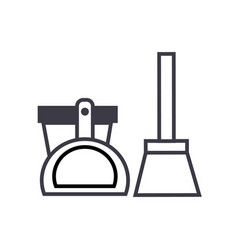 scoop bucket brush line icon sign vector image