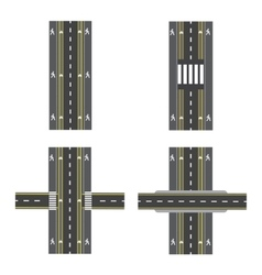 Set of different road sections with transitions vector