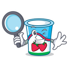 detective yogurt character cartoon style vector image vector image