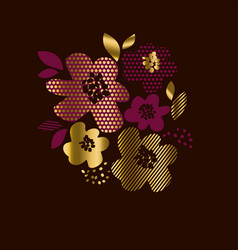luxury gold floral print with geometry pattern vector image