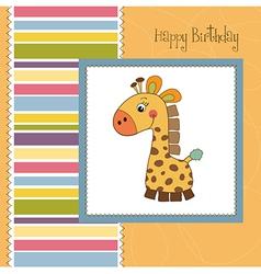 birthday card with giraffe toy vector image