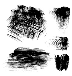 Black textured brush strokes on white background vector image vector image