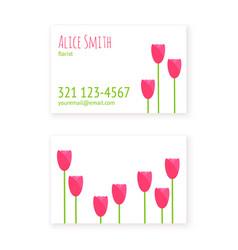 flat design template business cards florist vector image