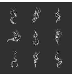 White smoke lines on black background set vector image vector image