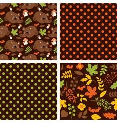 Woodland Seamless Pattern Set vector image