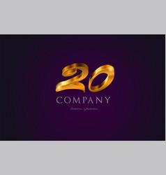 20 twenty gold golden number numeral digit logo vector