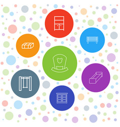 7 furniture icons vector