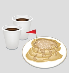 A Hot Coffee in Disposable Cup with Pancakes vector image