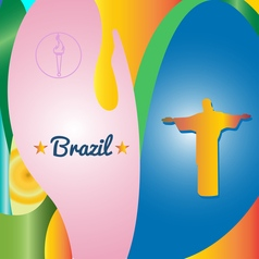 Abstract brazil and statue design over colored vector