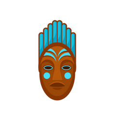 African or polynesian mask painted with blue color vector