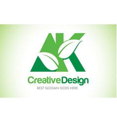Ak green leaf letter design logo eco bio leaf vector