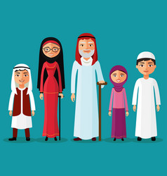 Arab grandparents with grandchildren together vector
