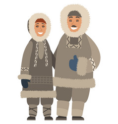 Arctic people wearing warm clothes smiling couple vector