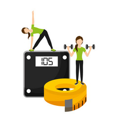 athletic women sport with weight scale and tape vector image