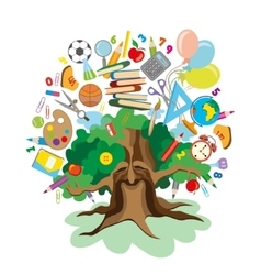 back to school - tree with education icons vector image vector image