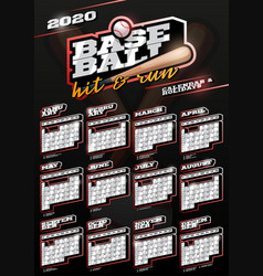 Baseball sport wall vertical calendar for 2020 vector