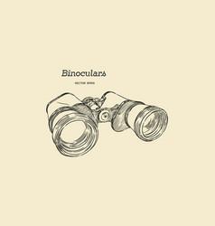 Binocular engraved hand drawn vector