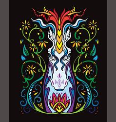 Black ornamental unicorn vector