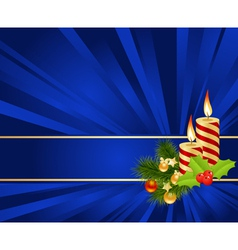 blue background with christmas decorations vector image