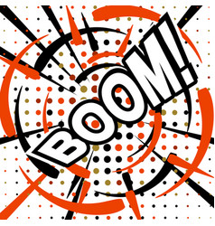boom wording sound effect set design for comic vector image