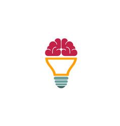 brain lamp creative logo vector image
