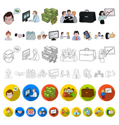 business conference and negotiations cartoon icons vector image