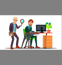 business espionage employee holding magnifier vector image