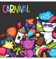 Carnival party kawaii background Cute cats vector