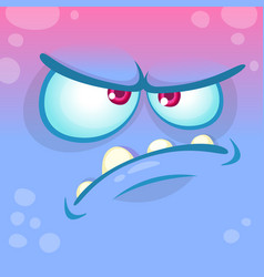 cartoon angry monster face vector image