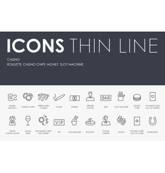 Casino Thin Line Icons vector