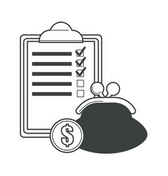 checklist on notepad with purse and dollar coin vector image